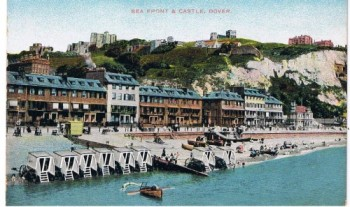 Bathing machines on Dover Beach. It looks a bit different these days...