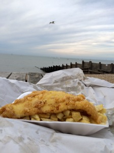 Fish and chips on Whitstable beach